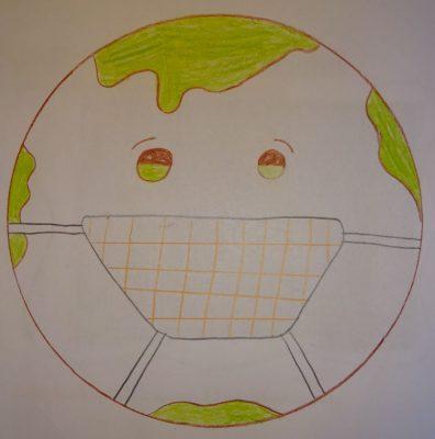 Unsere Erde mit Mundschutz