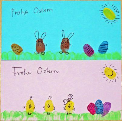 Osterfingerdruckkarten von Tina und Lucas